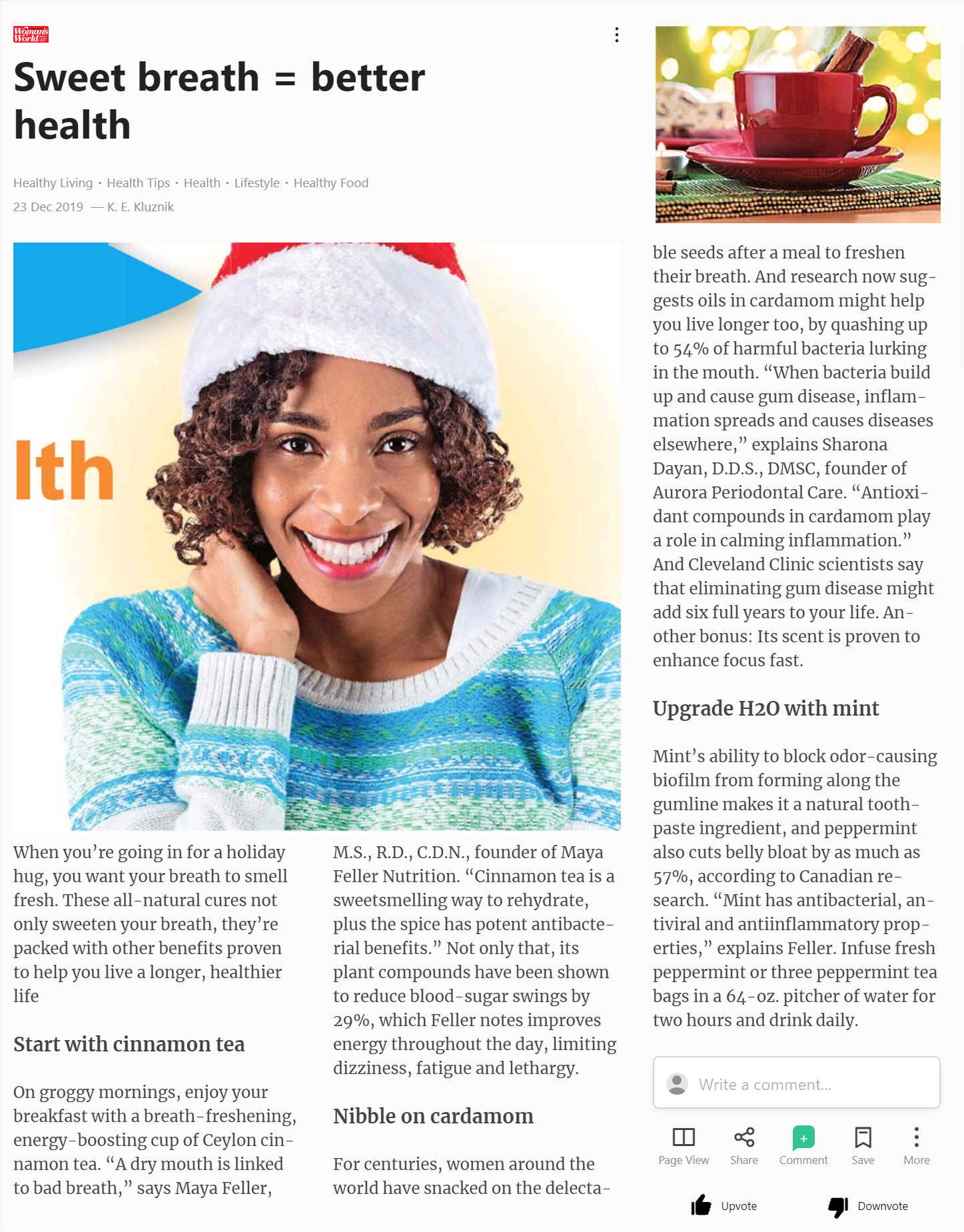 Cures For Bad Breath That Can Help You Live Longer, Healthier Lives. Dr. Sharona Dayan's Surprising Tip In Woman's World Magazine