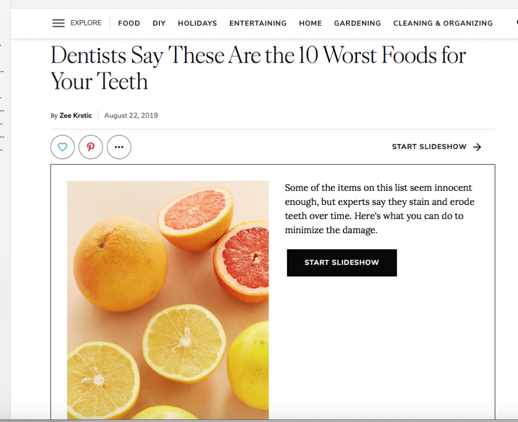 Dr. Dayan's Tips On The 10 Worst Foods For Your Teeth In Martha Stewart Living Magazine 1